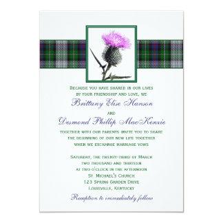 Purple Green Tartan Thistle Wedding Invitation
