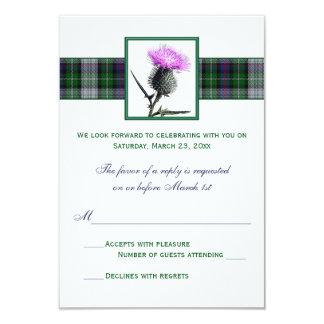 "Purple Green Tartan Thistle Wedding RSVP Card 3.5"" X 5"" Invitation Card"