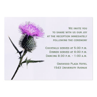 Purple, Green Thistle Reception Enclosure Card Business Cards