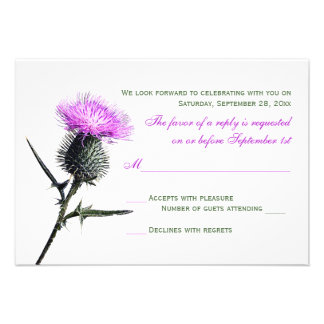 Purple Green Thistle Wedding RSVP Card Personalized Announcements