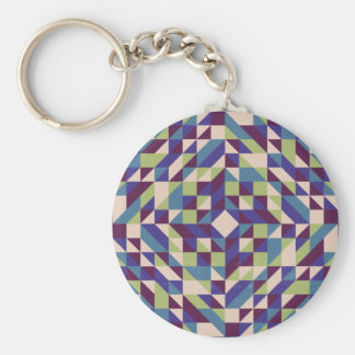 Purple Green Triangle Pattern Keychain