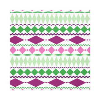 Purple Green Tribal Geometric Pattern Gallery Wrapped Canvas