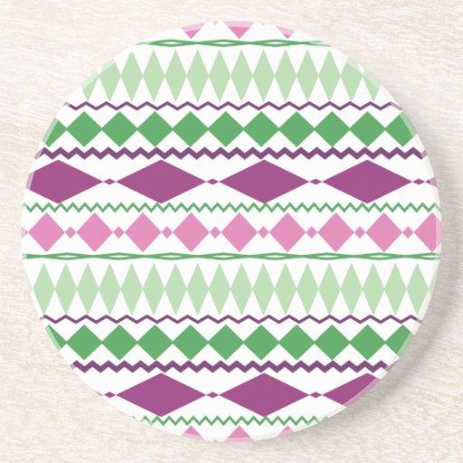 Purple Green Tribal Geometric Pattern Coaster