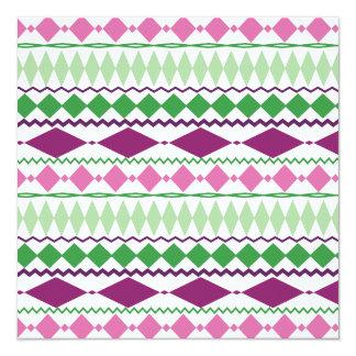 Purple Green Tribal Geometric Pattern Invitation