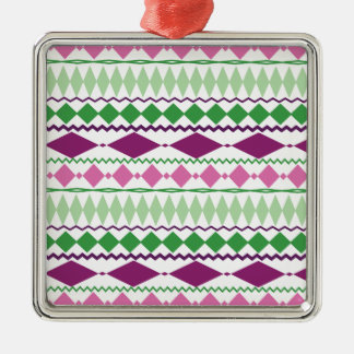 Purple Green Tribal Geometric Pattern Metal Ornament
