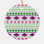 Purple Green Tribal Geometric Pattern Christmas Tree Ornament