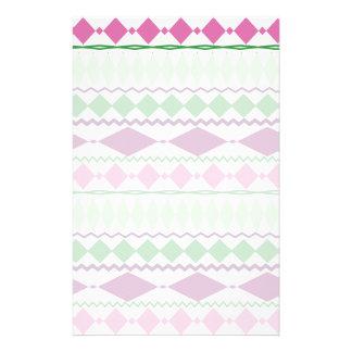 Purple Green Tribal Geometric Pattern Stationery Paper