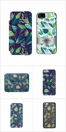 Purple & Green Tropical Leafs Pattern