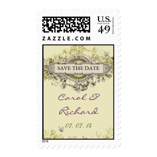Purple Green Vintage Floral Save the Date Postage