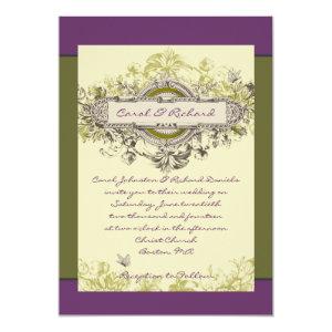 Purple Green Vintage Floral Wedding Invitation 5