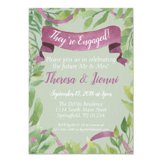 Purple & Green Watercolor Leaves - Engagement Card