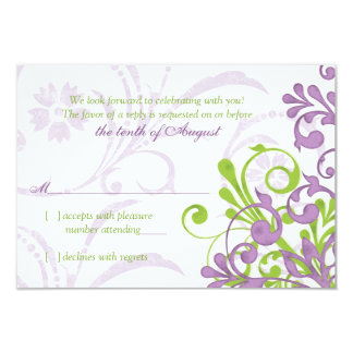 Purple Green White Abstract Floral Wedding rsvp Card