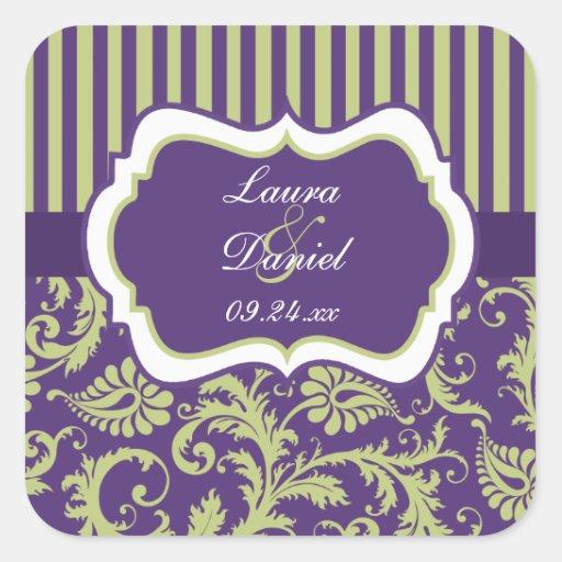 Purple, Green, White Damask Wedding Sticker