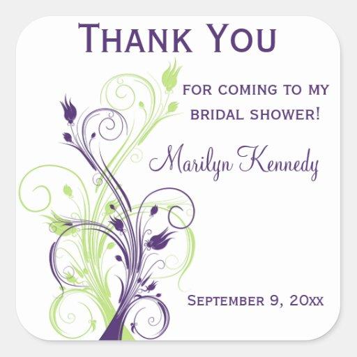 Purple Green White Floral Bridal Shower Sticker