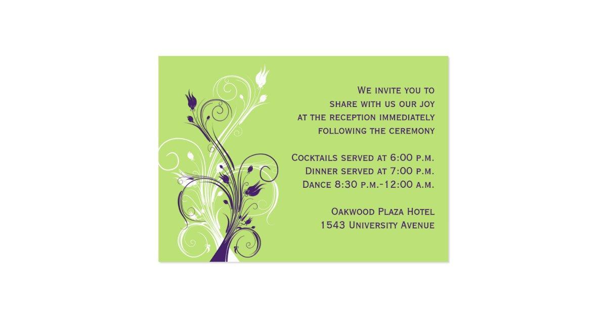 Purple green white floral reception enclosure card zazzle