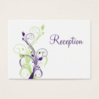 Purple Green White Floral Reception Enclosure Card
