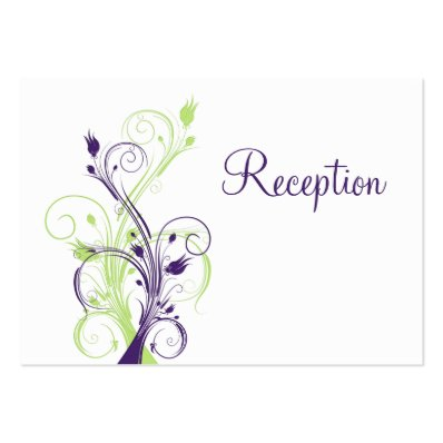 Purple Green White Floral Reception Enclosure Card Large Business Card