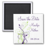 Purple Green White Floral Save the Date Magnet
