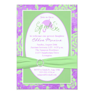 Purple Green White Floral Sip and See Invitation