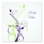 """Purple Green White Floral Sq. Wedding Invitation 5.25"""" Square Invitation Card"""