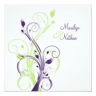 Purple Green White Floral Sq. Wedding Invitation