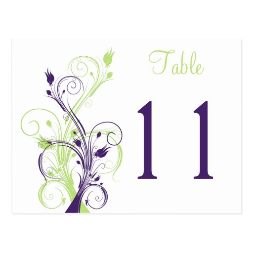 Purple Green White Floral Table Number Postcard