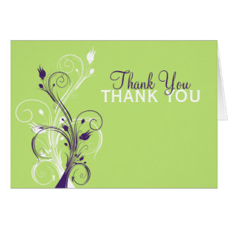 Purple Green White Floral Thank You Card