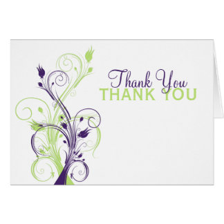 Purple Green White Floral Thank You Card Card