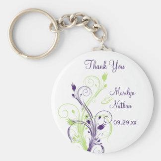 Purple Green White Floral Wedding Favor Key Chain