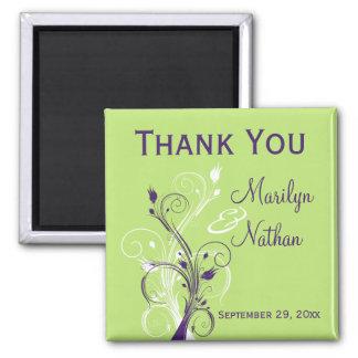 Purple Green White Floral Wedding Favor Magnet