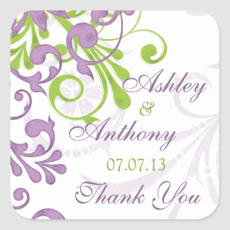 Purple Green White Floral Wedding Favor Tag