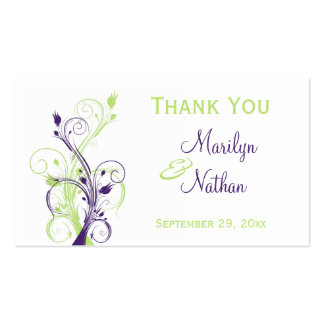 Purple Green White Floral Wedding Favor Tag Double-Sided Standard Business Cards (Pack Of 100)