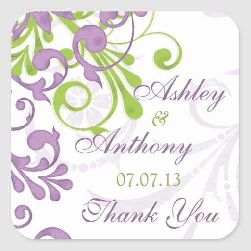 Purple Green White Floral Wedding Favor Tag Square Sticker