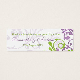 Purple Green White Floral Wedding Favor Tags