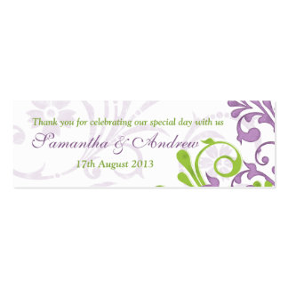Purple Green White Floral Wedding Favor Tags Double-Sided Mini Business Cards (Pack Of 20)
