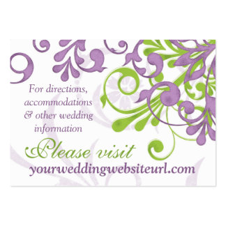 Purple Green White Floral Wedding Website Insert Business Card Templates