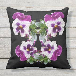 Purple, Green, White Pansy Graphic Outdoor Pillow
