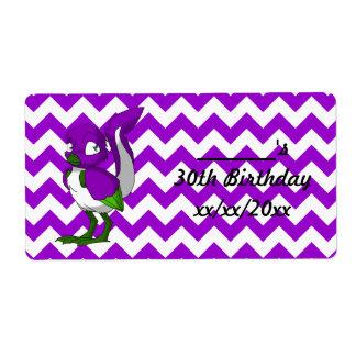 Purple/Green/White Reptilian Bird Water Bottle Label