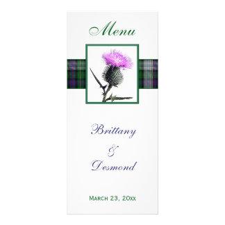 Purple, Green, White, Tartan and Thistle Menu Card
