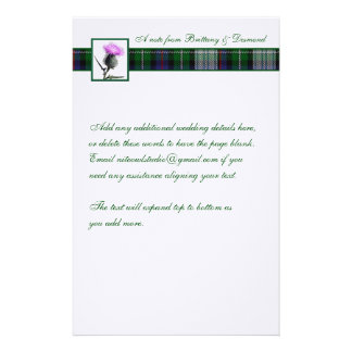 Purple, Green, White Tartan and Thistle Stationery