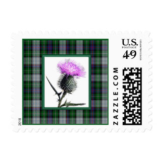Purple, Green, White Tartan Thistle Postage Stamp