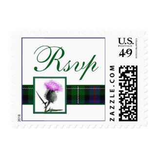Purple, Green, White Tartan Thistle RSVP Postage