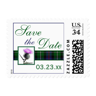 Purple, Green, White Tartan Thistle Save the Date Postage Stamp