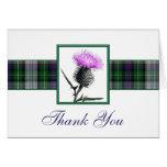 Purple, Green, White Tartan Thistle Thank You Card Greeting Card