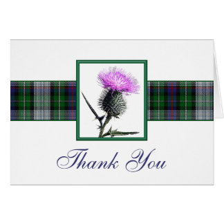Purple, Green, White Tartan Thistle Thank You Card