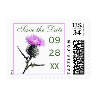 Purple, Green, White Thistle Save the Date Stamp