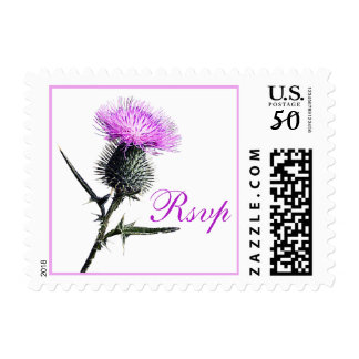 Purple, Green, White Thistle Wedding RSVP Postage