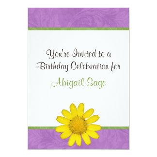 Purple, Green & Yellow Flower Birthday Invitation