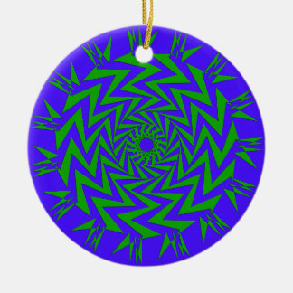 Purple Green ZigZag Maze Double-Sided Ceramic Round Christmas Ornament