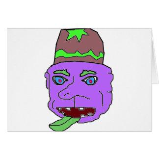 Purple Gremlin Head Greeting Cards